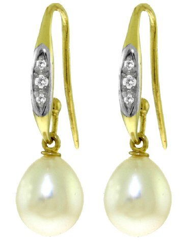 14k YG 8.00ct Pearl & .05ct Diamond Fish Hook Earrings