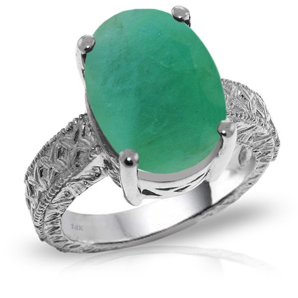 14K White Gold 6.50ct Oval Emerald Ring