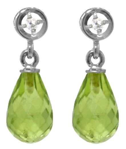 14k White Gold 2.70ct Peridot & Diamond Earrings