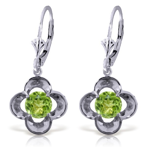14k WG 1.10ct ROUND shape Peridot Flower Earrings