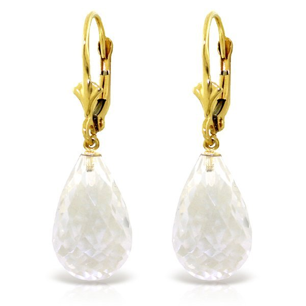 14k Solid Gold 14.0ct White Topaz Dangle Earrings