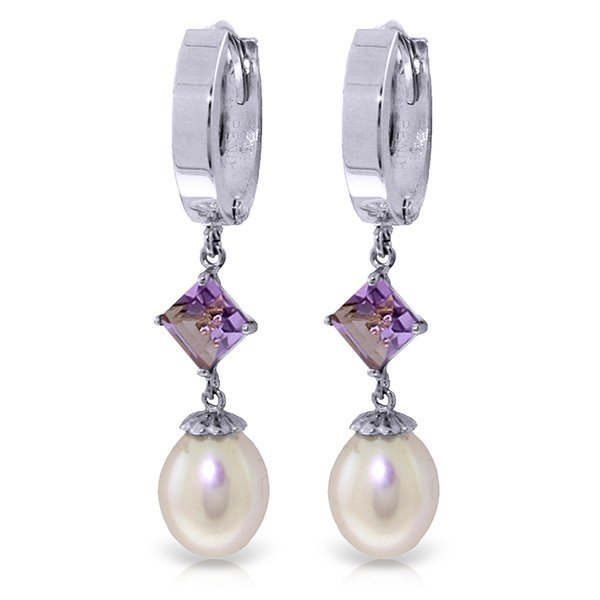 14k WG 1.50ct Amethyst & Pearl Dangle Earrings