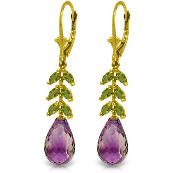 14k YG Amethyst & Peridot Fancy Earrings