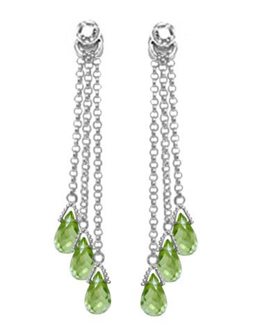14k WG 10.50ct Peridot & Diamond Chandelier Earrings