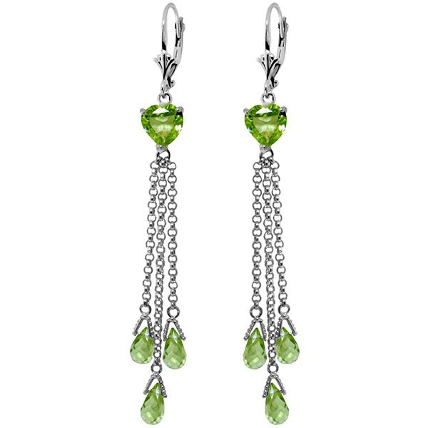 14K White Gold 6.9ct & 2.6ct Heart Peridot Earring