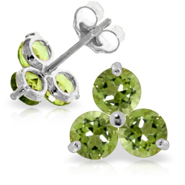 14k WHITE GOLD 1.50ct ROUND Peridot Stud Earrings