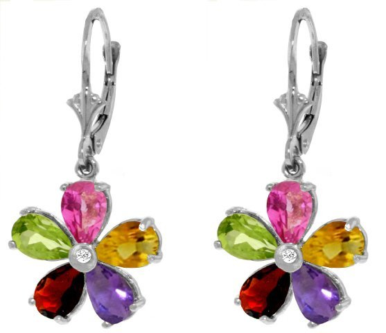 Multi .88ct Gemstones Flower Earrings in 14k WG