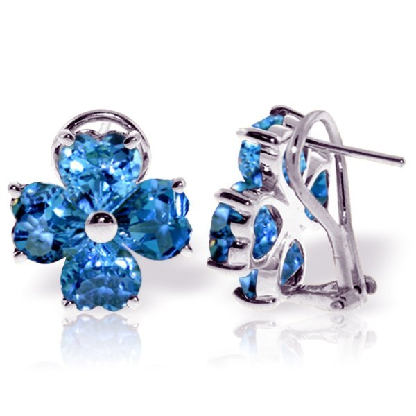 14k WG 7.60ct Heart Blue Topaz French Clip Earrings