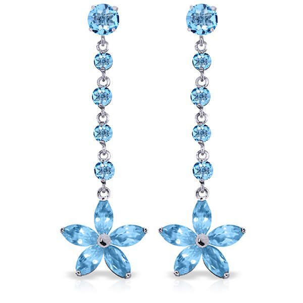 14k WG Blue Topaz Flower Dangle Earrings
