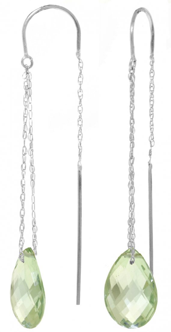 14k 6.0ct Briolette Green Amethyst Threaded Earrings