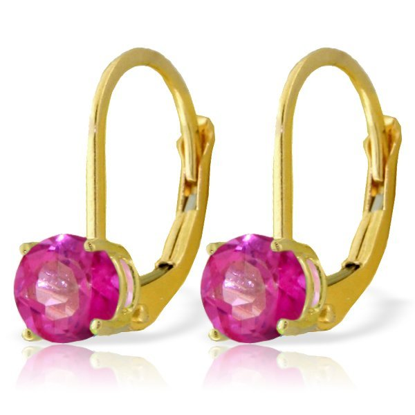 14k YELLOW GOLD 1.30ct Pink Topaz Leverback Earrings