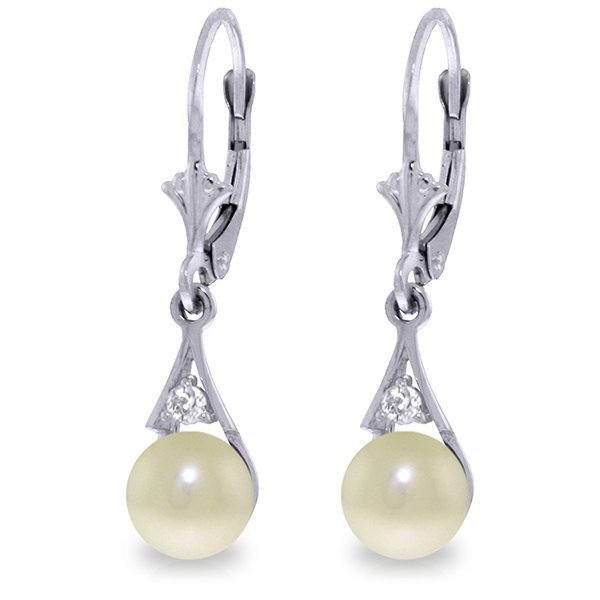 Pearl on Shell Earrings with Diamond Accent in 14k Gold