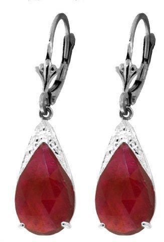 14k Gold 10.0ct Ruby Teardrop Earrings