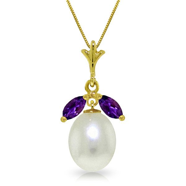 14k Solid Gold 0.50ct Amethyst & Pearl Necklace