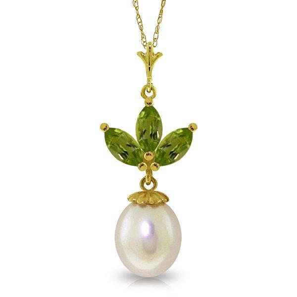 14k Yellow Gold Pearl & 0.75ct Peridot Necklace