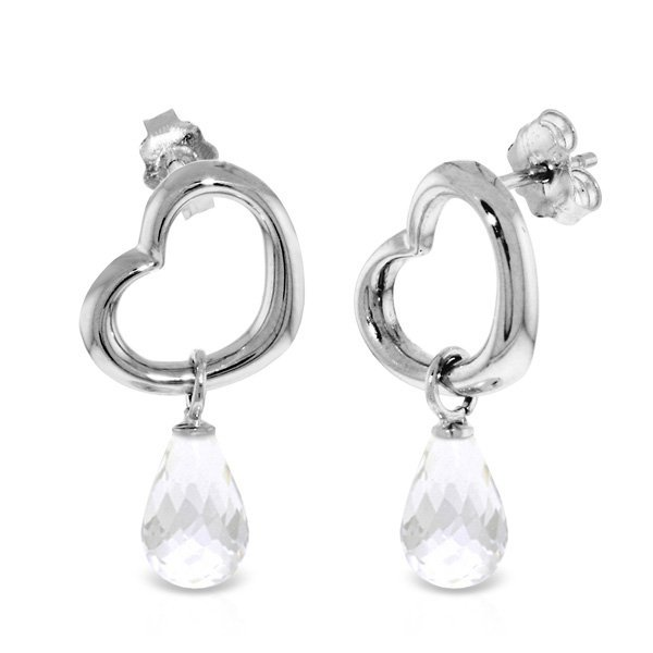 14K White Gold 4.50ct White Topaz Dangle Heart Earring