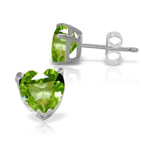 3.25ct Peridot Heart Stud Earrings in 14k White Gold
