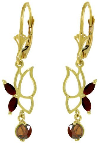 14k Yellow Gold Garnet Butterfly Earrings