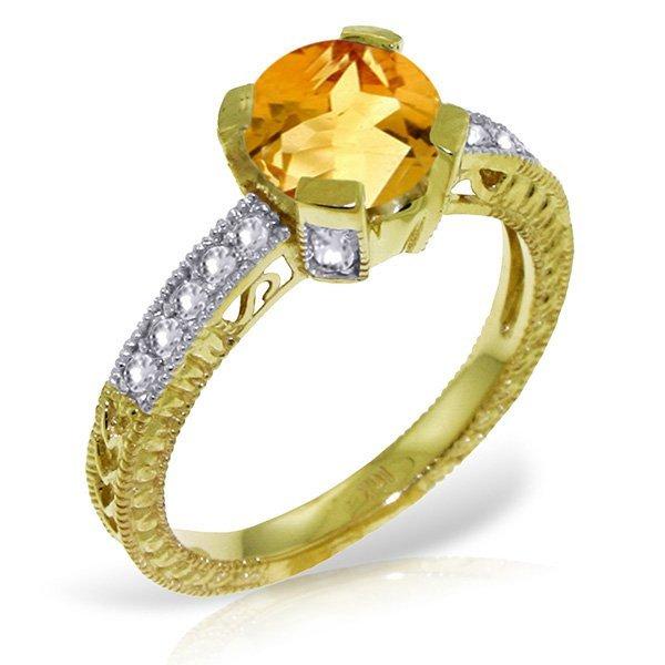 14k YG 1.50ct Citrine & Diamond Engagement Ring