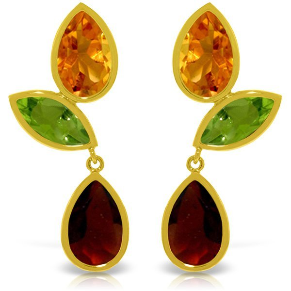 14k YG Citrine, Peridot & Garnet Earrings