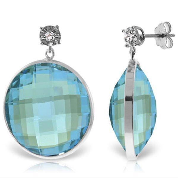 14K White Gold 46.0ct Blue Topaz & Diamond Stud Earring