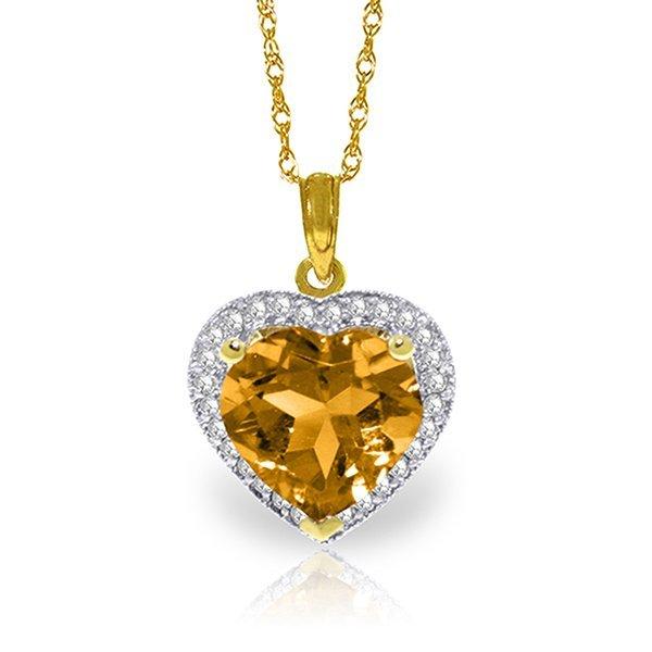 14k Solid Gold 3.10ct Citrine & Diamond Necklace