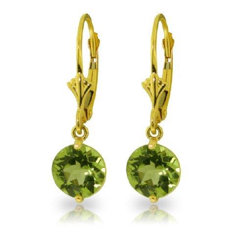 3.10ct Peridot Dangle Earrings in 14k YELLOW GOLD