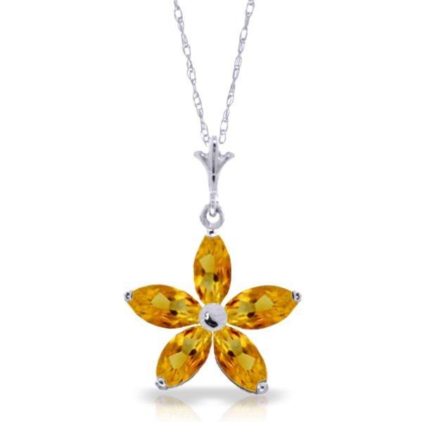 14k Solid Gold 1.40ct Citrine Flower Necklace