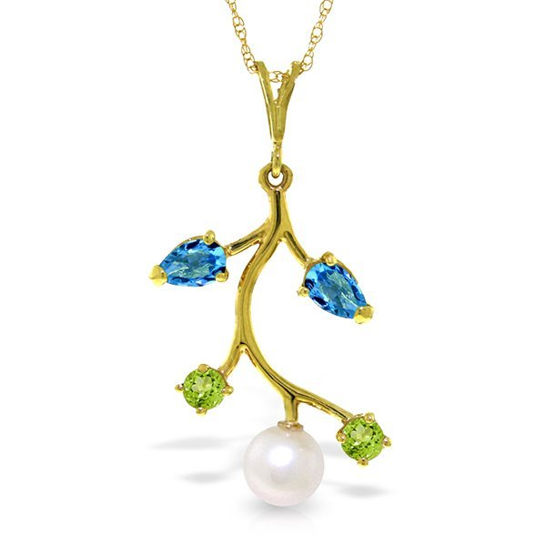 14k Solid Gold Blue Topaz, Peridot & Pearl Necklace