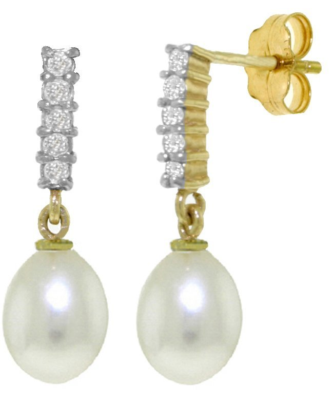Pearl Earrings with Diamond Accent in 14k Yellow Gold