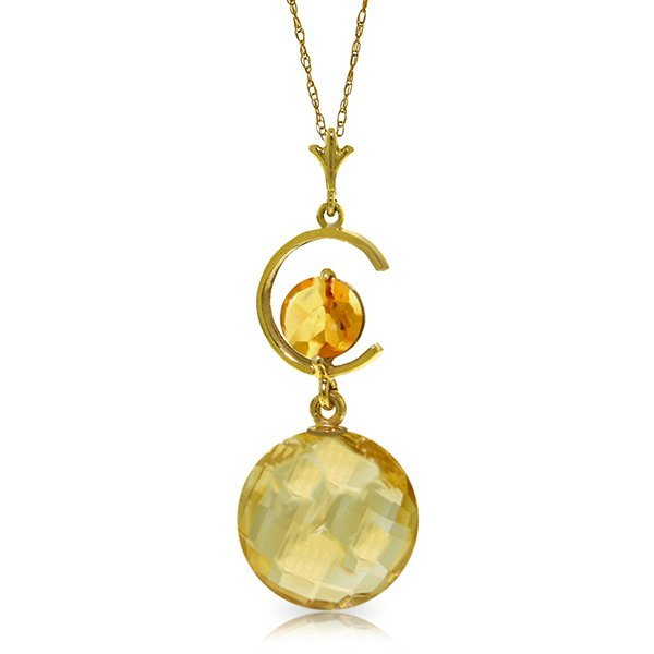 14k Yellow Gold Citrine 'C' necklace