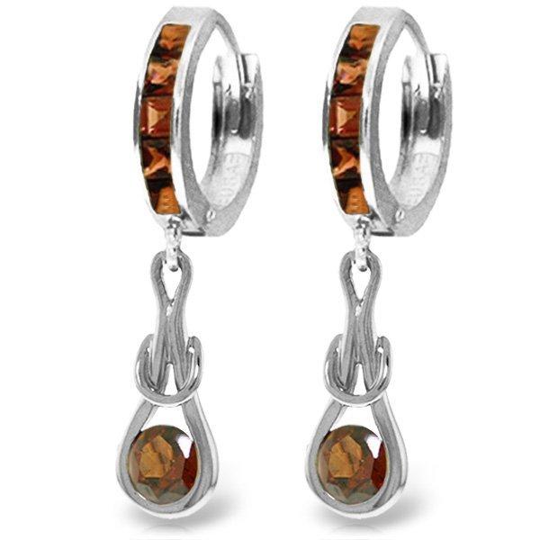 14K White Gold 2.60ctw Garnet Infinity Earring