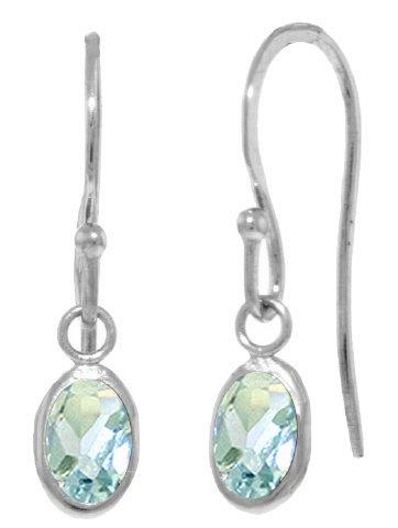 14k Gold 1.0ct Aquamarine Fish Hook Earrings