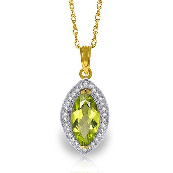 14k Solid Gold 2.0ct Peridot & Diamond Necklace
