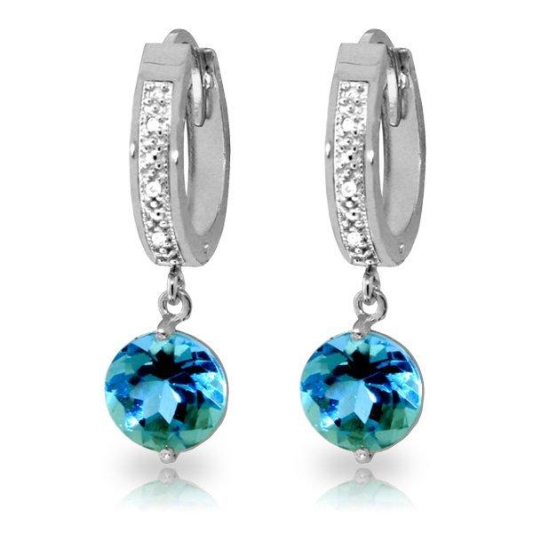 14K White Gold 3.25ct Blue Topaz & Diamond Earring