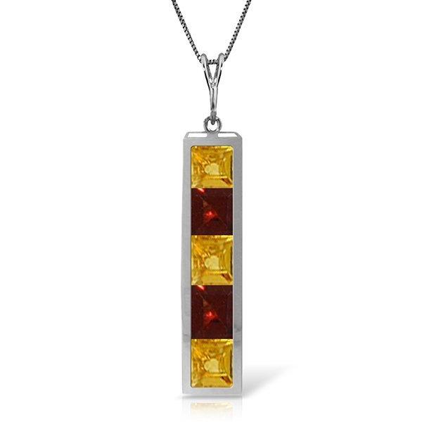 14k Solid Gold Citrine & Garnet Necklace