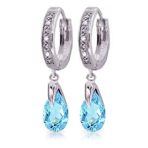 Blue Topaz Earrings with Diamond in 14k White Gold