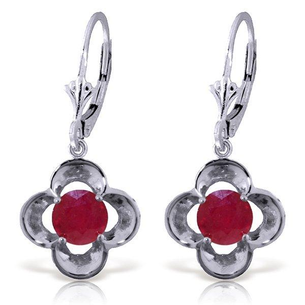 1.10ct ROUND Ruby Flower Bud Earrings in 14k WG