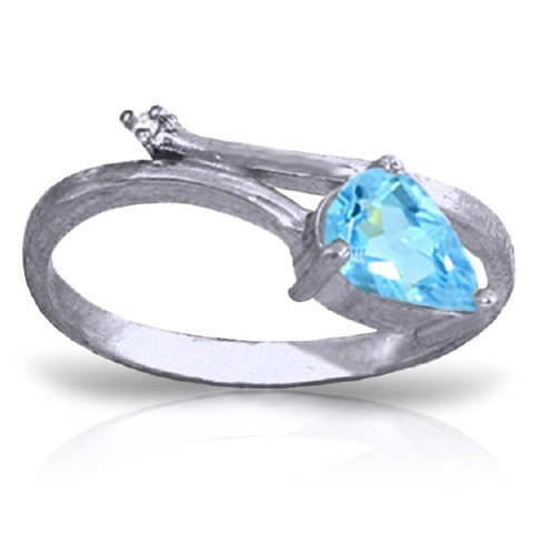 14k Solid Gold 0.82ct Blue Topaz & Diamond Ring