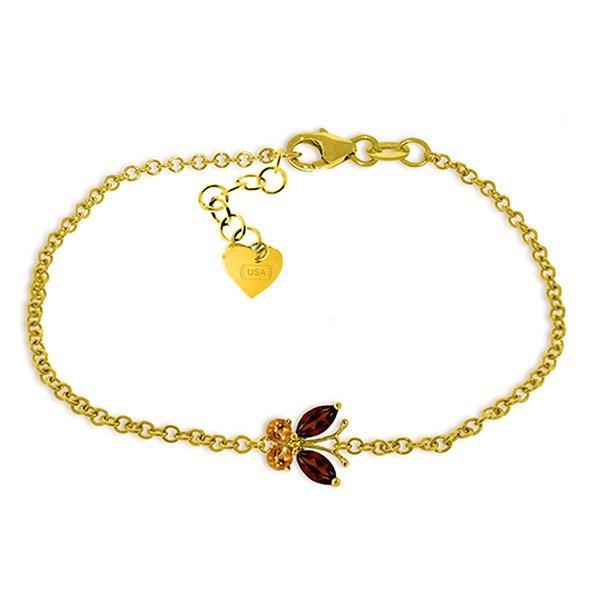 14k Yellow Gold Garnet & Citrine Butterfly Bracelet