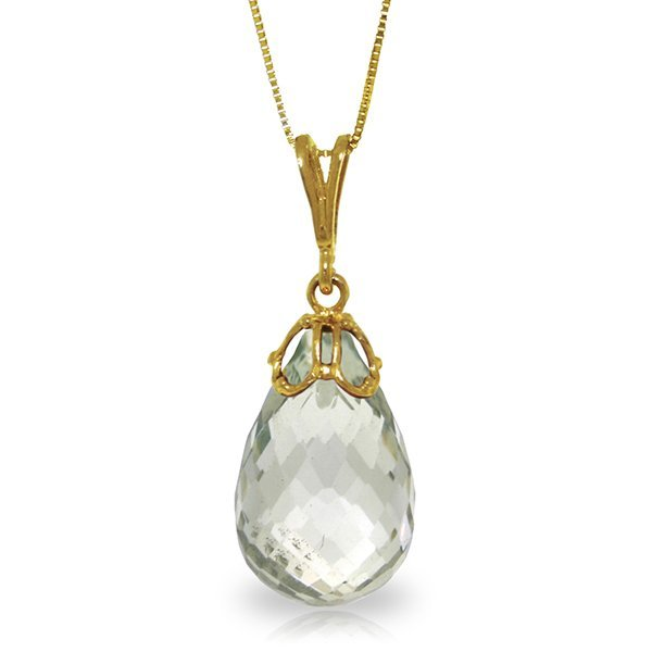 14k Solid Gold 7.0ct Green Amethyst Necklace
