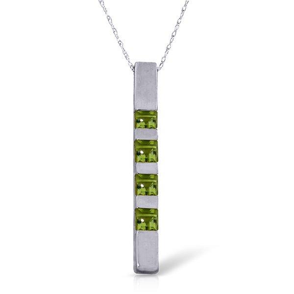 14K White Gold .35ct Princess Peridot Bar Necklace