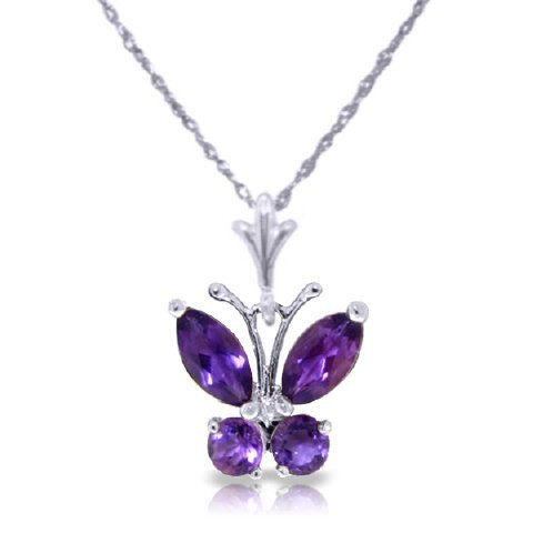 14K WG .40ct & .20ct  AMETHYST BUTTERFLY NECKLACE