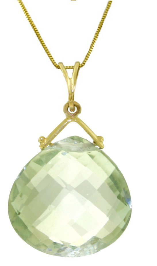 8.50ct Green Amethyst Necklace in 14k Yellow Gold