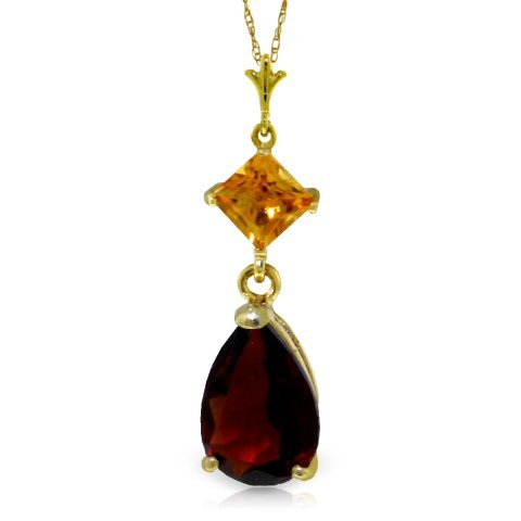 0.50ct Citrine & 1.50ct Garnet Drop Necklace in 14k YG