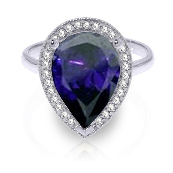 5.26ct 14k White Gold Sapphire Diamond Ring