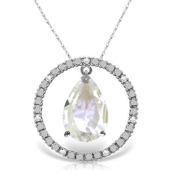 14K White Gold 6.5ct White Topaz & Diamond Necklace