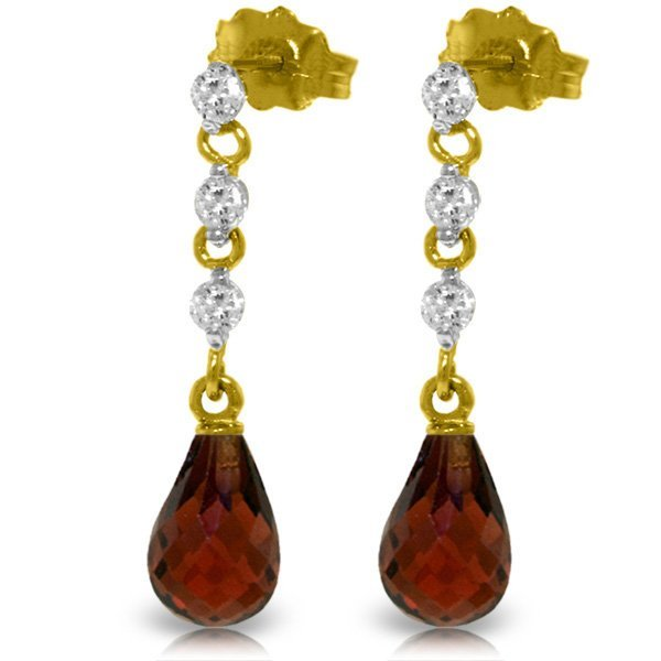 14k Solid Gold 3.0ct Garnet & Diamond Earrings