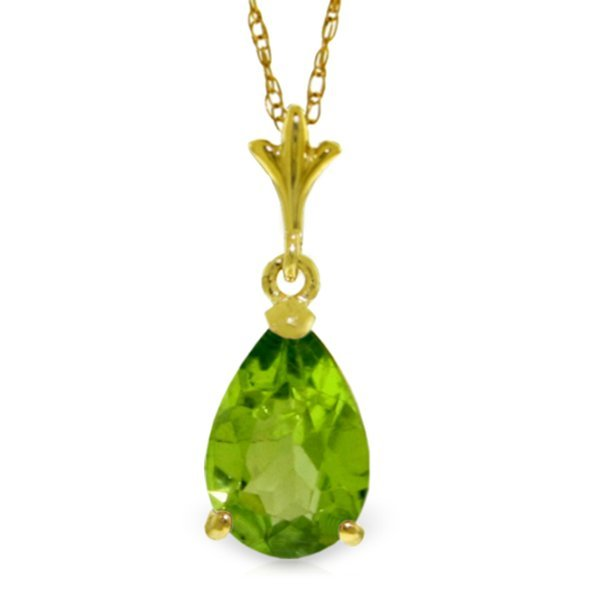 14k Yellow Gold 1.50ct Peridot Drop Necklace