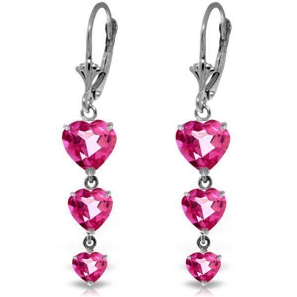 14K White Gold 3.0ct 1.75ct & 1.25ct Pink Topaz Earring